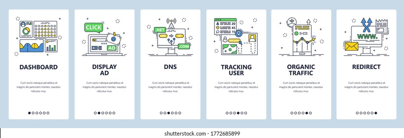 User activity monitoring app. Dashboard, dns, organic traffic. Action tracking mobile app onboarding screens. Vector banner template for website and mobile development. Web site design illustration.