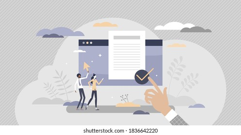 User agreement digital document for legal protection purpose tiny persons concept. Pop-up text window with confirm button vector illustration. End client account terms and conditions acceptance scene.
