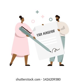 User agreement signing. Two people holding pen and paper. Term of use document. Flat vector illustration.