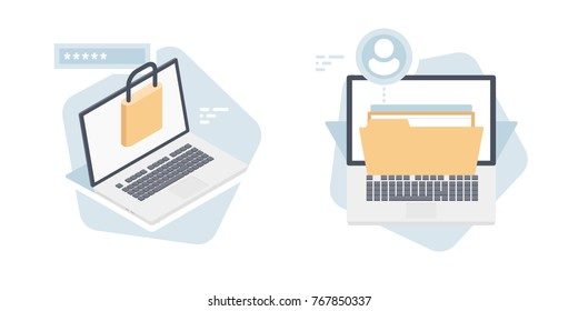 User authorization account vector isometric, and access, laptop with lock authorization form document folder, cloud file storage concept isolated on white background