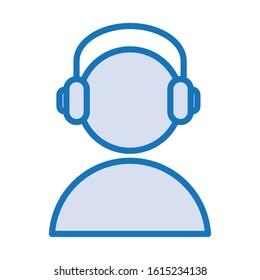 user avatar with earphones audio device vector illustration design