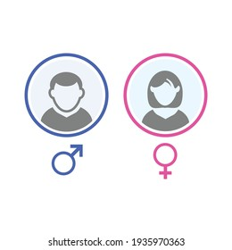 User avatar. male and female face isolated on white background