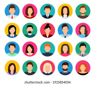 User avatar set. People avatar profile icons. Male and female faces. Men and women portraits. Unknown or anonymous person. Characters collection. Vector illustration.