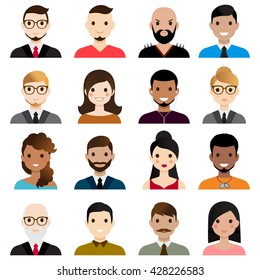 User Avatars.Male and female faces avatars. flat style vector icons set.