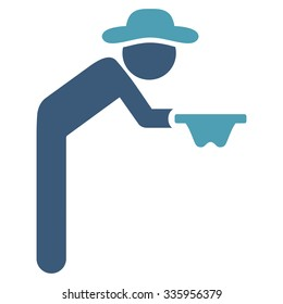 User Beggar vector icon. Style is bicolor flat symbol, cyan and blue colors, rounded angles, white background.