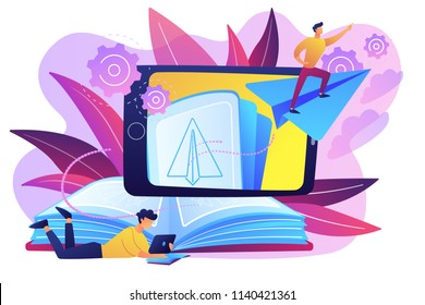 User with book and tablet watching himself flying on paper plane in augmented reality. Virtual reality learning technology, enertainment app concept, violet palette. Vector isolated illustration.