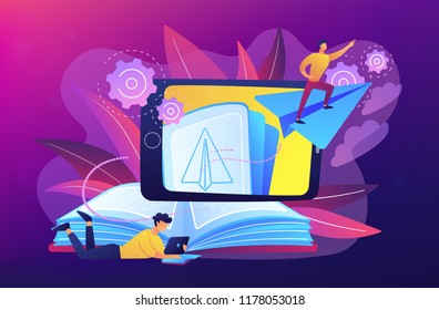 User with book and tablet watching himself flying on paper plane in augmented reality. Virtual reality learning technology, enertainment app concept, violet palette. Vector illustration.