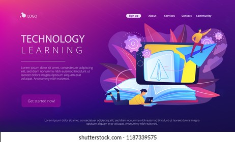 User with book and tablet watching himself flying on paper plane in augmented reality. Virtual reality learning technology, enertainment app concept, violet palette. Website landing web page.