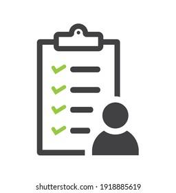 User checklist icon with a green check boxes.