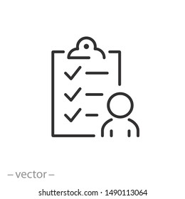 user checklist icon, manager candidate, account activity, thin line web symbol on white background - editable stroke vector illustration eps10