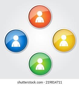 User Circular Vector Colorful Web Icon Set Button
