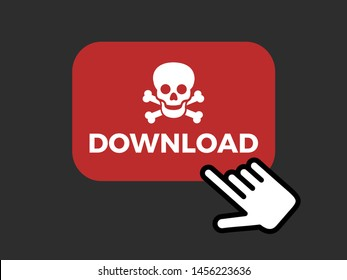 User is clicking on button to download illegal and pirate content from website, webpage. Piracy on the computer as online crriminality and robbery. Copyright infringement and illegal downloading.