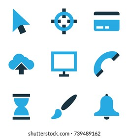 User Colorful Icons Set. Collection Of Credit Card, Monitor, Load And Other Elements. Also Includes Symbols Such As Painting, Watch, Target.