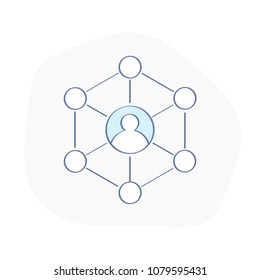 User connections, communication, networking, profile network of contacts, social user environment, core of the team. Flat outline vector illustration.