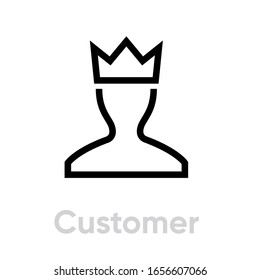 User Customer icon Profile Avatar with Crown Pictogram illustration