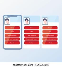 User data. Mobile screen template to explain something.EPS10