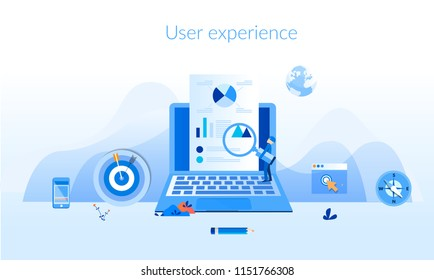 User experience Concept for web page, banner, presentation, social media, documents, cards, posters. Vector illustration optimizing user experience in e-commerce, Developing programming and coding.