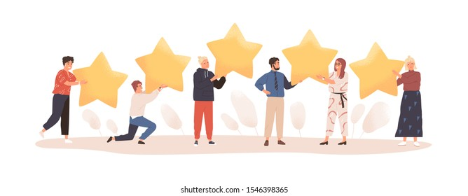 User experience feedback flat vector illustration. People with stars isolated on white. Clients evaluating product, service. Consumer product review. Customer satisfaction assessment concept.