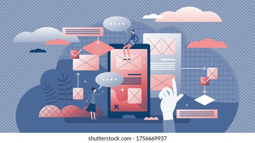 User friendly experience vector illustration. Web feedback flat tiny persons concept. Application usability optimization for home page or application easy usage. Customer opinion analysis management.