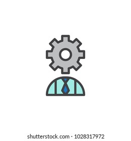 User with gear head filled outline icon, line vector sign, linear colorful pictogram isolated on white. User settings symbol, logo illustration.