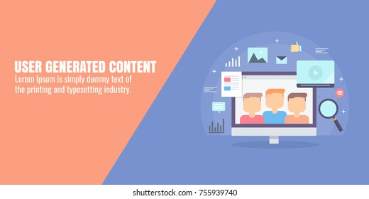 User generated content, marketing, digital, Content contribution flat vector banner illustration with icons and elements