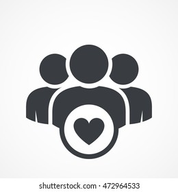 User group icon. Management Business Team Leader Sign. Social Media, Teamwork concept. Customer icon. Love symbol. Health care management. Heart group icon. Wedding group. Happy business team icon