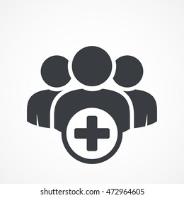User group icon. Management Business Team Leader Sign. Social Media, Teamwork concept. Add icon. Plus sign