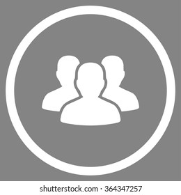 User Group vector icon. Style is flat circled symbol, white color, rounded angles, gray background.