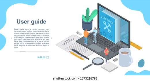 User guide concept banner. Isometric illustration of user guide vector concept banner for web design