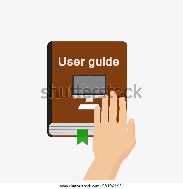 User guide with man hand above. Isolated on white background. Flat vector stock illustration