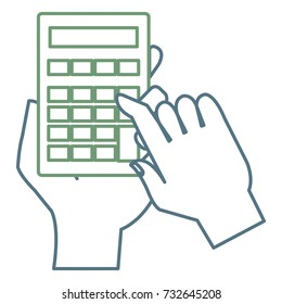 user hand with calculator math isolated icon
