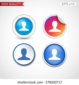 User icon. Button with user icon. Modern UI vector.