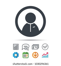 User icon. Human person symbol. Statistics chart, chat speech bubble and contacts signs. Check web icon. Vector