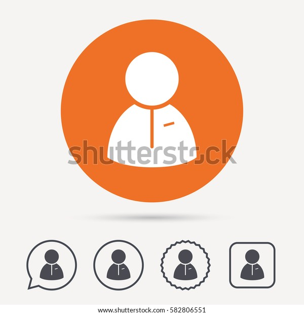 User icon. Human person symbol. Circle, speech bubble and star buttons. Flat web icons. Vector