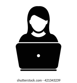 User Icon with Laptop - Vector