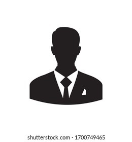 User icon of man in business suit sign
