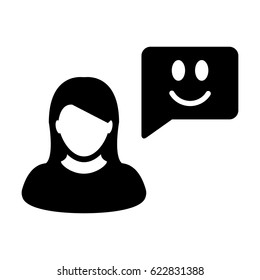 User Icon - Vector Person Profile Avatar With Happy Customer Satisfaction and Feedback with Smile Symbol on Message Bubble Glyph Pictogram illustration