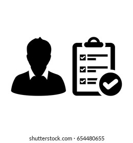 User Icon - Vector To-Do Task Checklist With Tick Symbol and Person Profile Human Avatar in Glyph Pictogram illustration