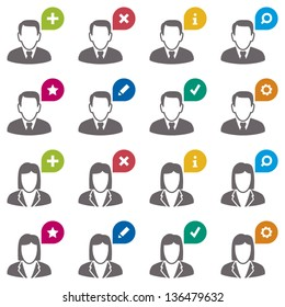 User icons. Businessman and businesswoman