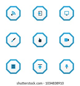 User icons colored set with feed, video, brush and other upload elements. Isolated vector illustration user icons.
