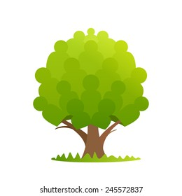 User icons of mans in eco tree logo