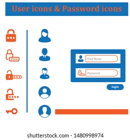 user icons and password icons in vector