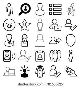 User icons. set of 25 editable outline user icons such as face, woman, group, man with laptop, worker, man with case, angry emot, clipboard, menu, jacket, businessman, call