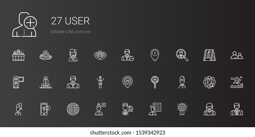 user icons set. Collection of user with badge, user list, driver, add grid, notification, job search, placeholder, woman, man, experience. Editable and scalable icons.
