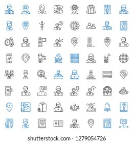 user icons set. Collection of user with cloud folder, manual, placeholder, man, menu, biography, employee, job search, guide, notification, team. Editable and scalable user icons.