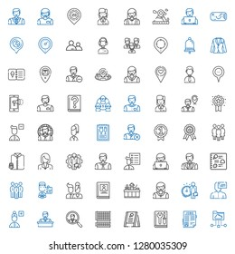 user icons set. Collection of user with cloud folder, job search, manual, menu, grid, employee, add user, woman, receptionist, biography, users. Editable and scalable user icons.