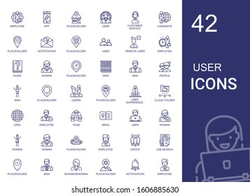 user icons set. Collection of user with employee, app, placeholder, customer service, candidate, notification, remove user, guide, woman, grid. Editable and scalable icons.