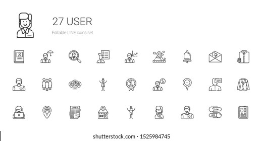 user icons set. Collection of user with man, customer service, placeholder, job search, employee, badge, woman, group, notification, menu, switch. Editable and scalable user icons.