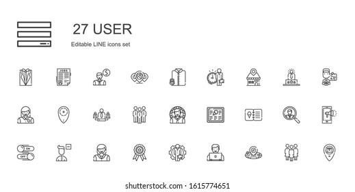 user icons set. Collection of user with placeholder, employee, badge, woman, remove user, switch, menu, group, team, suit and tie, notification. Editable and scalable icons.