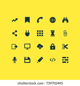 User Icons Set. Collection Of Socket, Monitor, Application And Other Elements. Also Includes Symbols Such As Lock, Audio, Diagram.